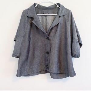 Eileen Fisher Linen Blend Gray Jacket Sz M